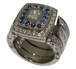 Stunning Diamond and Ceylonese Sapphire engagement and wedding rings, featuring hand engraving