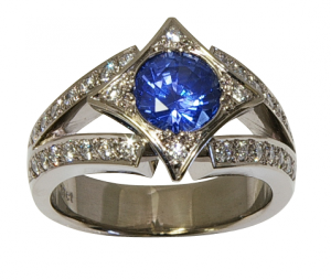 Ceylonese Sapphire, Diamond and 18ct White Gold